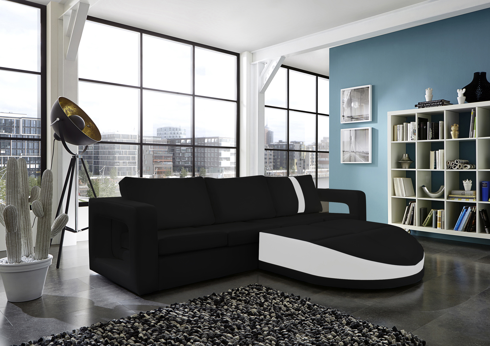 sam ecksofa schwarz wei sofa doccia 274 x 200 cm. Black Bedroom Furniture Sets. Home Design Ideas