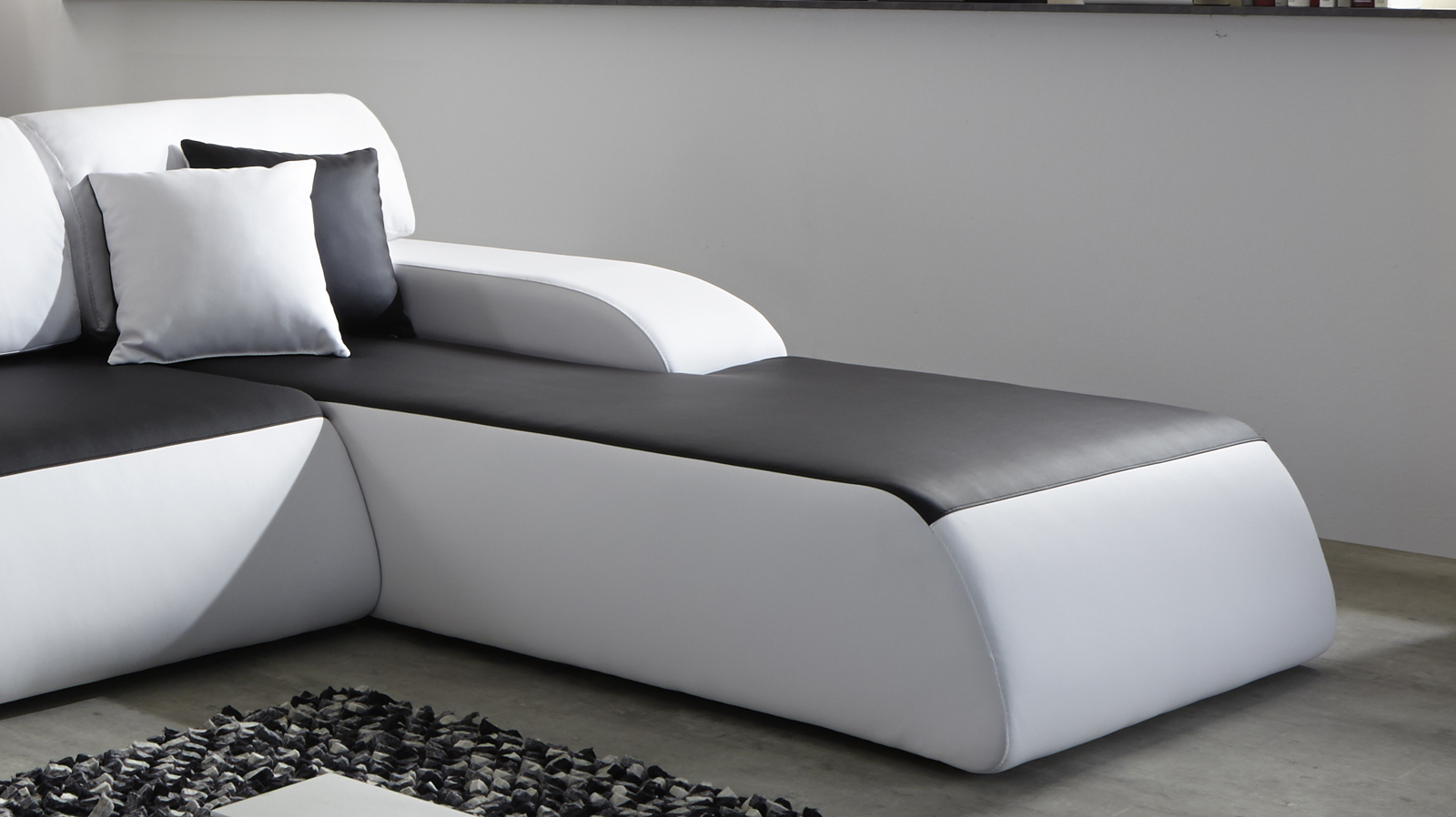 sam ecksofa schwarz wei sol 280 x 220 cm g nstig. Black Bedroom Furniture Sets. Home Design Ideas