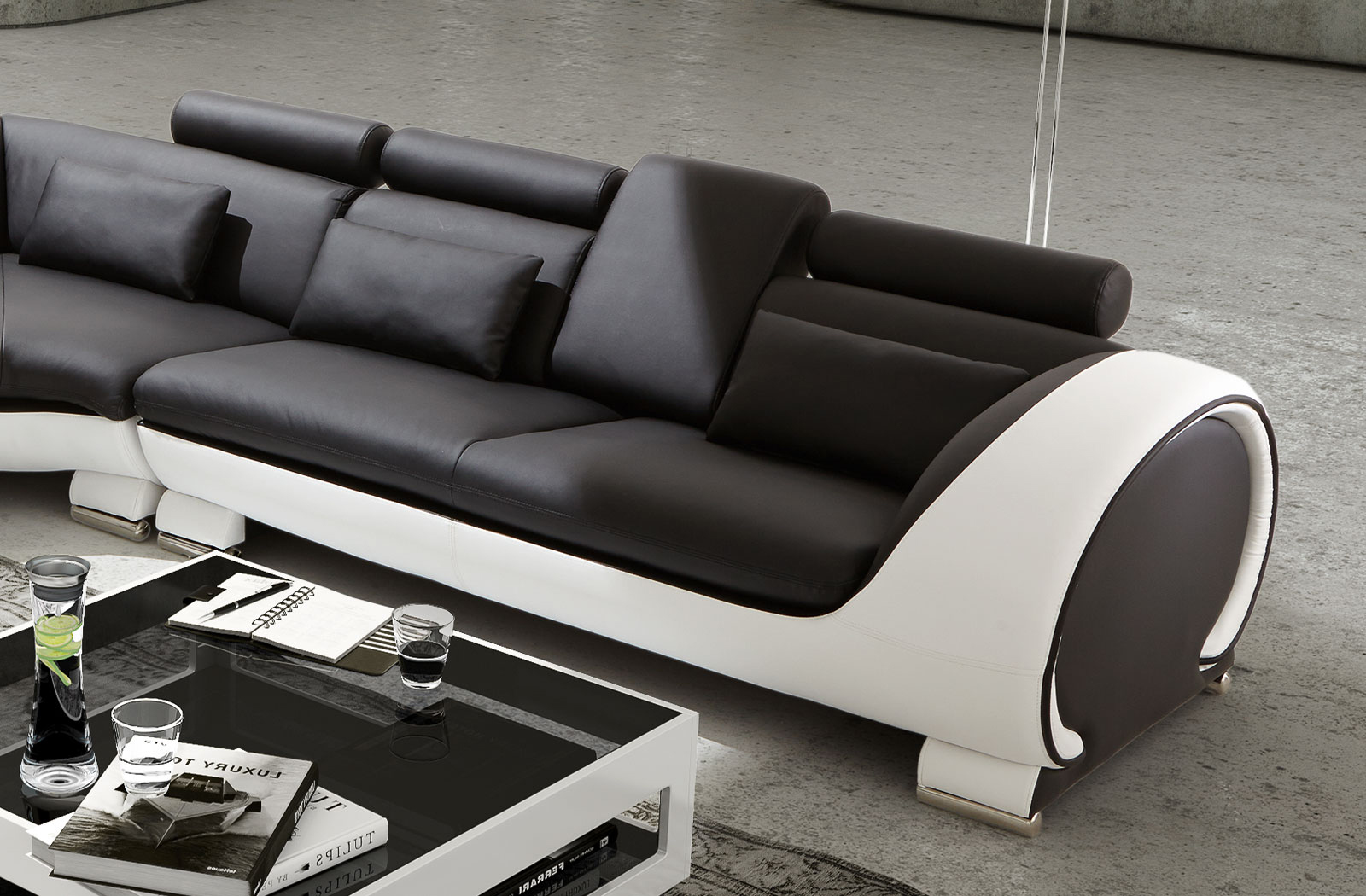 sam ecksofa schwarz wei vigo combi 4 couch 254 x 286 cm. Black Bedroom Furniture Sets. Home Design Ideas