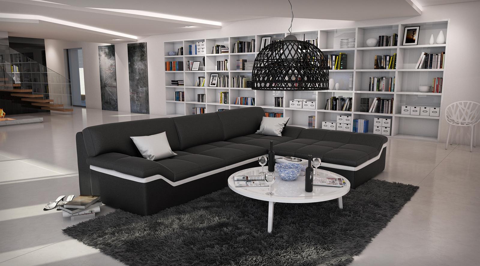 SAM® Ecksofa schwarzStripe weiß Sofa MISTICO 270 x 220 cm -> Ecksofa Trends