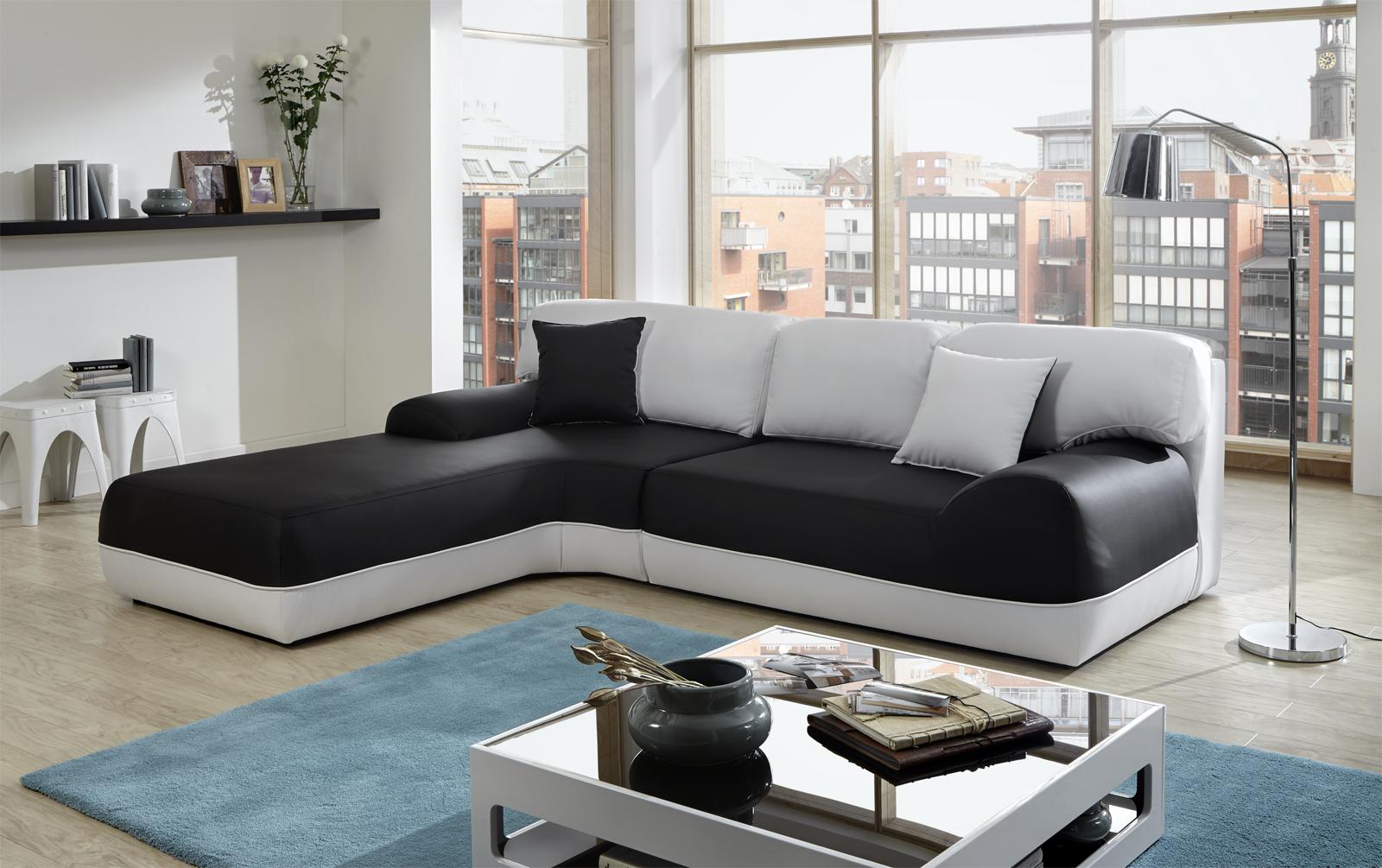 Sam ecksofa sofa schwarz wei couch impulso 220 x 260 cm for Wunderbar schwarz weis sofa