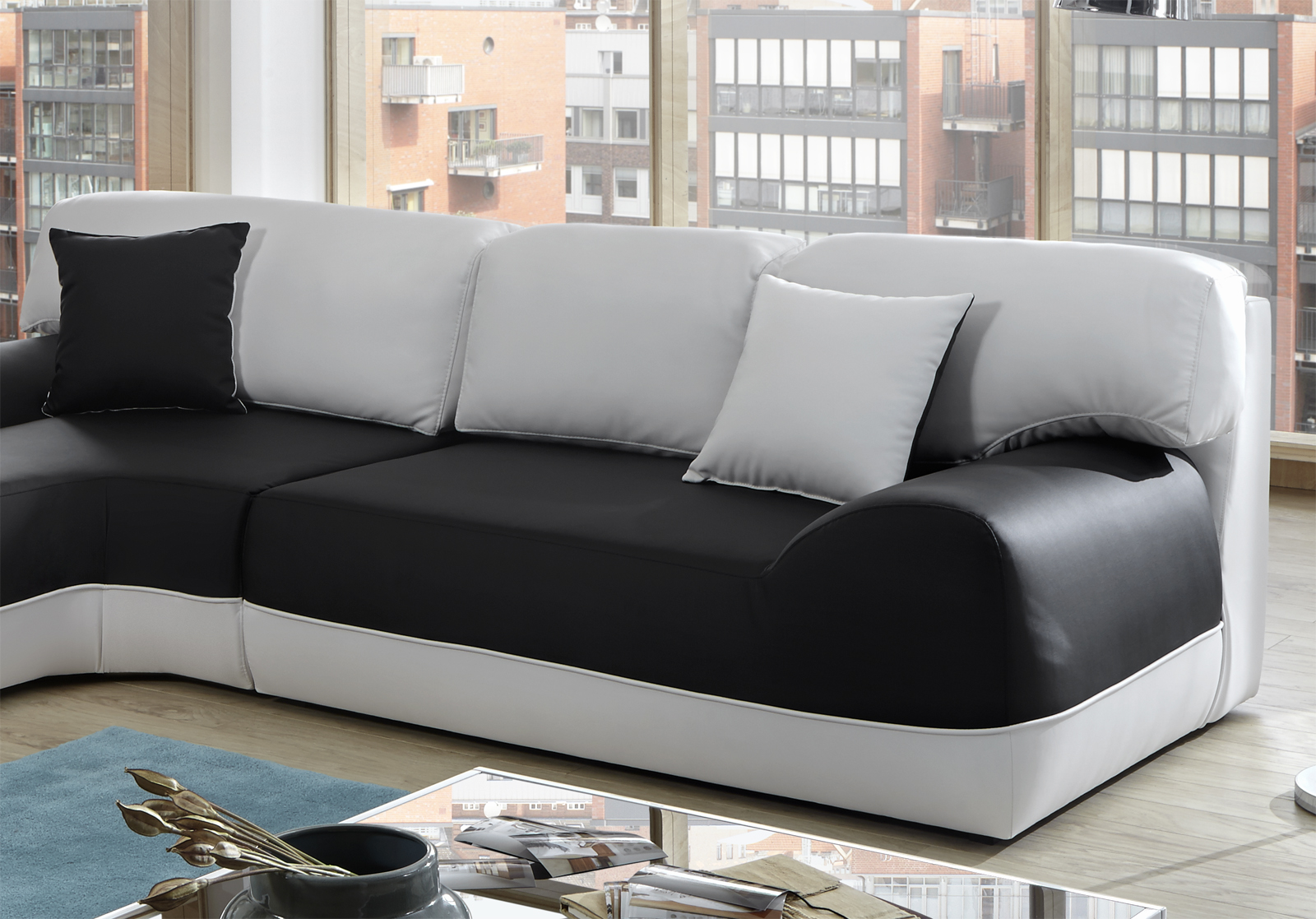 sam ecksofa sofa schwarz wei couch impulso 220 x 260 cm. Black Bedroom Furniture Sets. Home Design Ideas