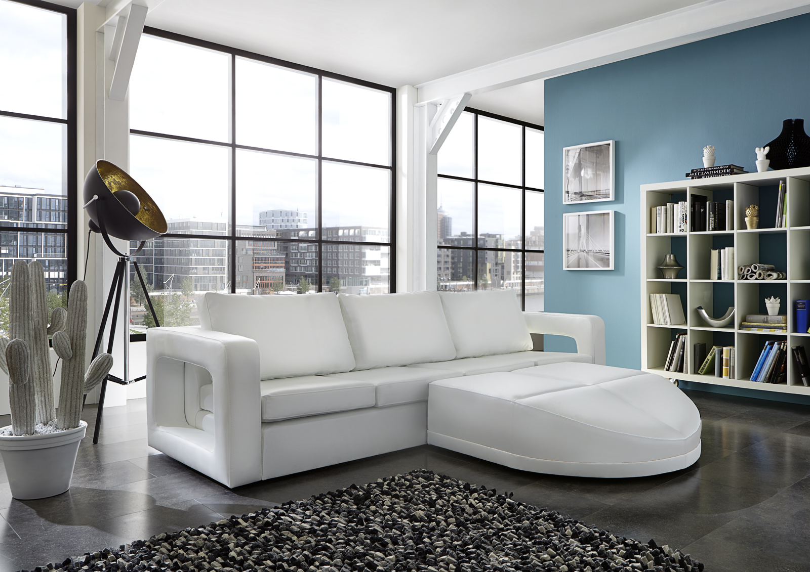 sam ecksofa wei doccia rechts polsterecke 274 x 200 cm. Black Bedroom Furniture Sets. Home Design Ideas