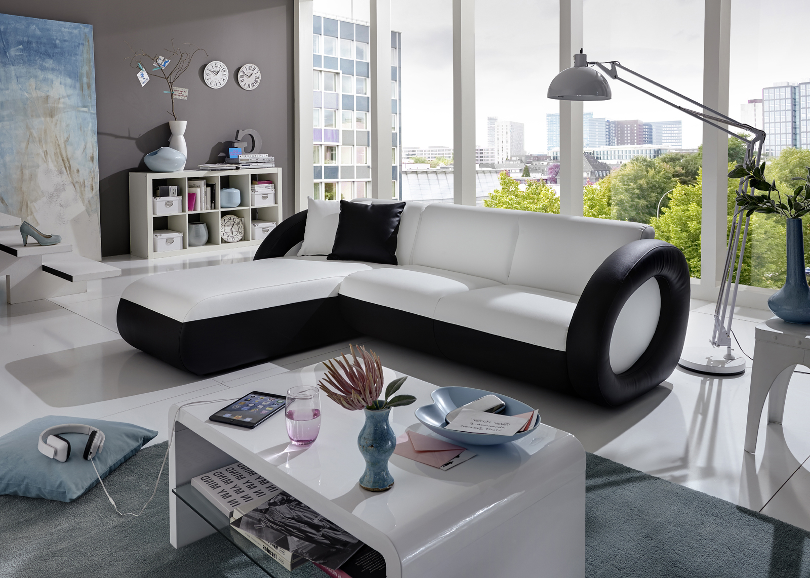 sam ecksofa wei schwarz couch onda l 180 x 236 cm. Black Bedroom Furniture Sets. Home Design Ideas