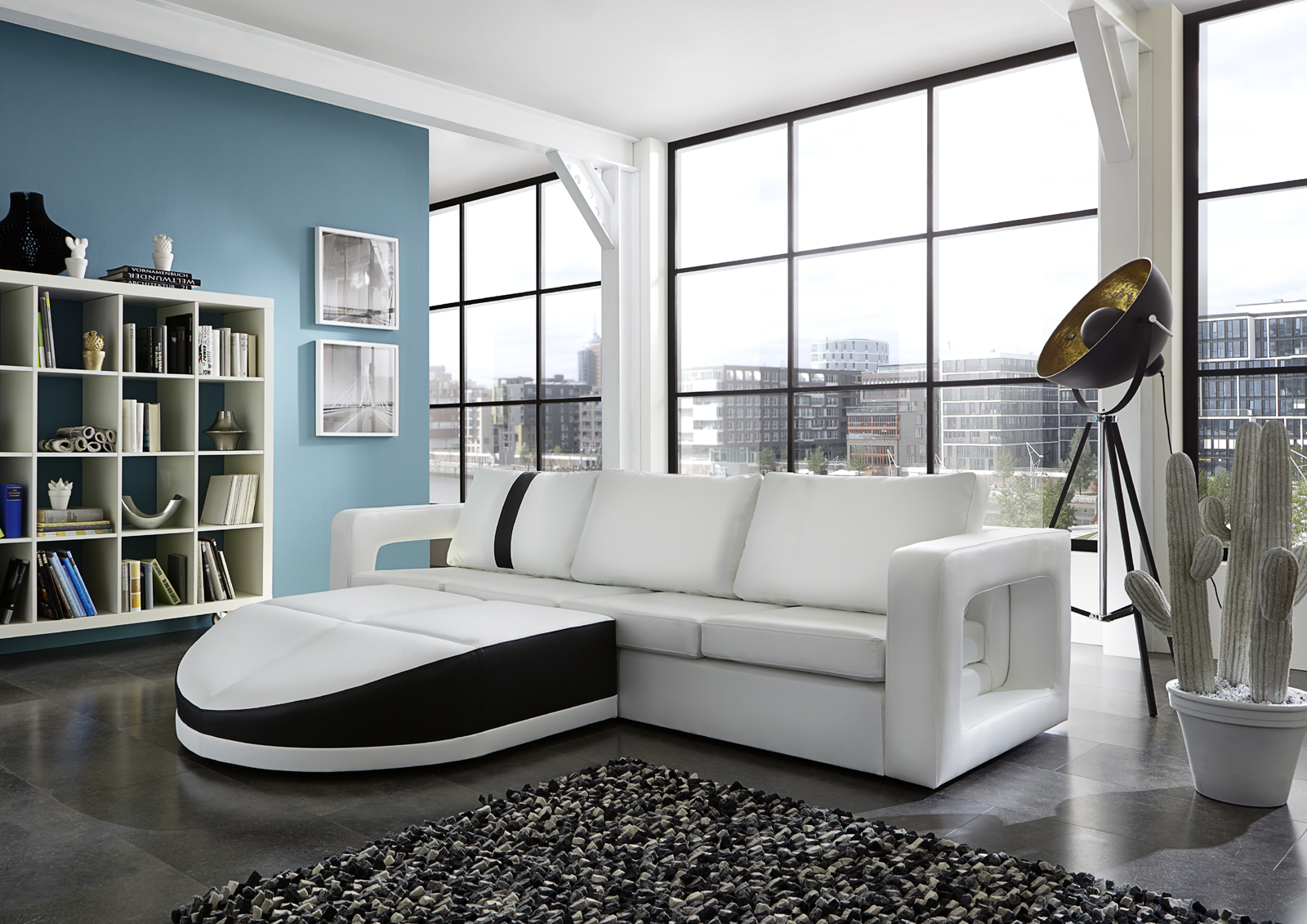sam ecksofa wei schwarz doccia polsterecke 200 x 274 cm. Black Bedroom Furniture Sets. Home Design Ideas