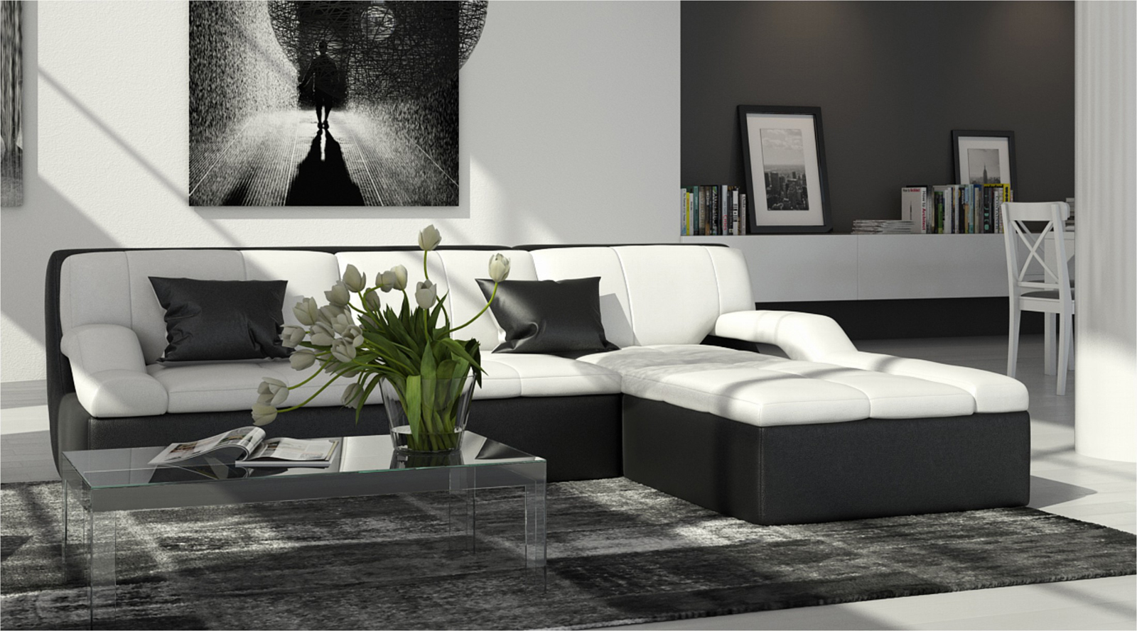 sam ecksofa wei schwarz rechts couch 240 x 200 cm rosella. Black Bedroom Furniture Sets. Home Design Ideas