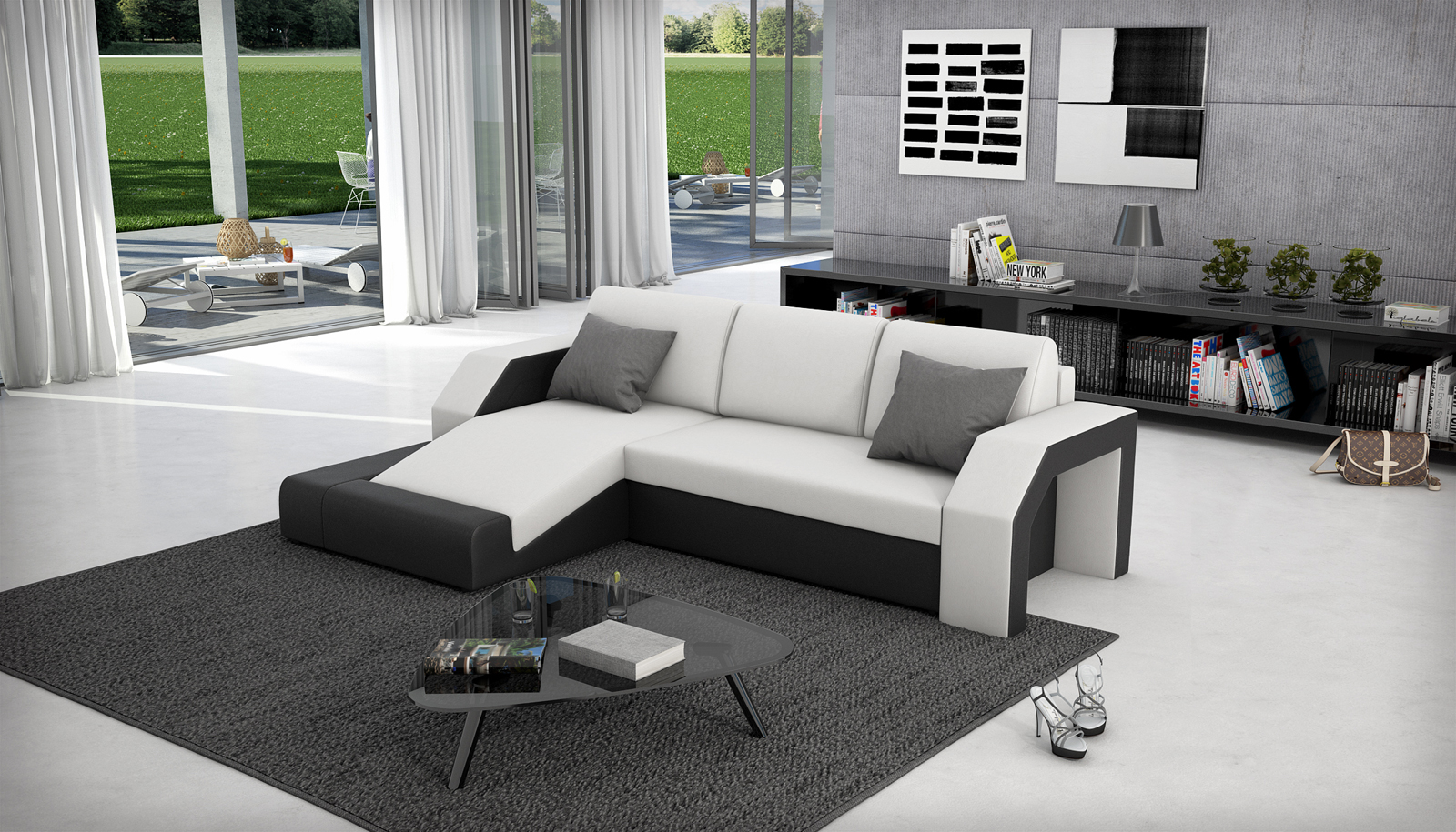sam ecksofa wei schwarz schlafsofa milagro 145 x 281 cm. Black Bedroom Furniture Sets. Home Design Ideas