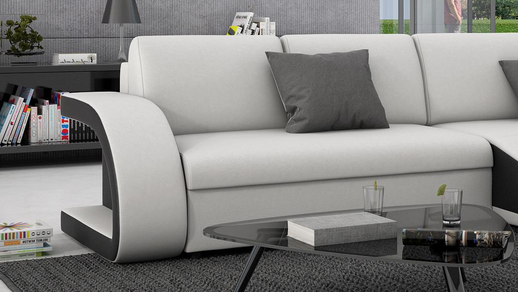 sam ecksofa wei schwarz schlafsofa paulino 259 x 146 cm. Black Bedroom Furniture Sets. Home Design Ideas