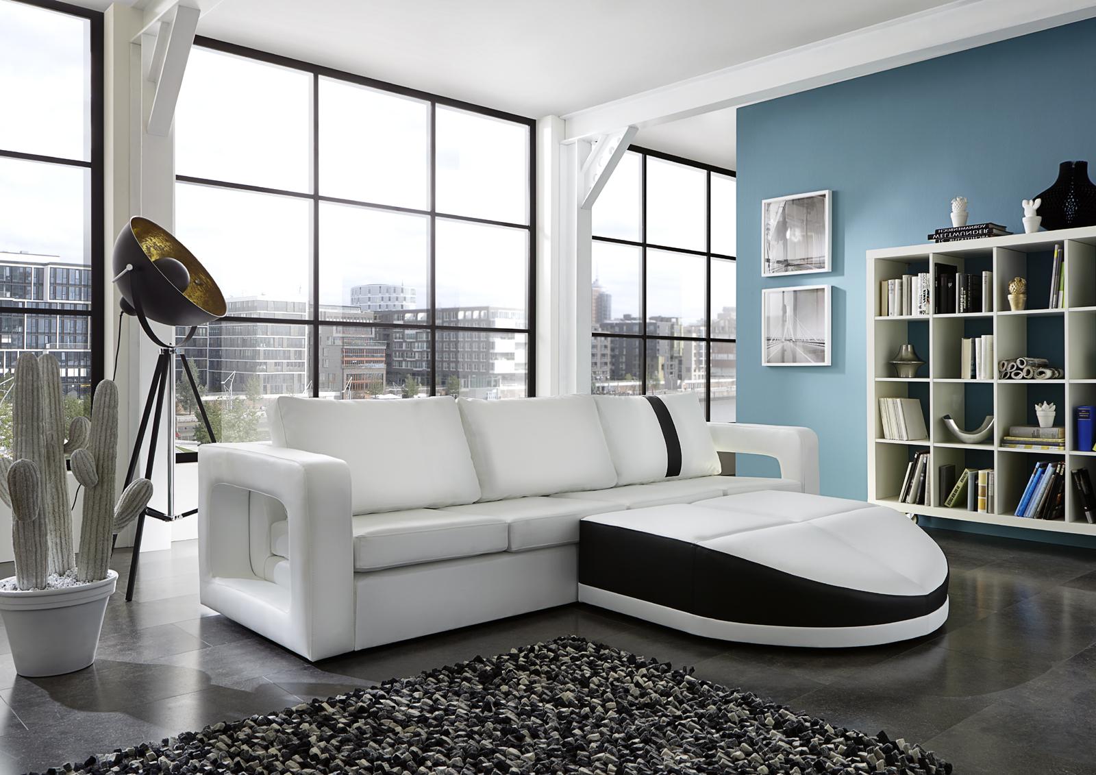sam ecksofa wei schwarz sofa doccia 274 x 200 cm. Black Bedroom Furniture Sets. Home Design Ideas