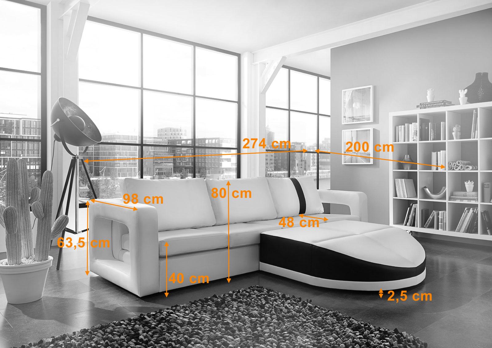 Sam ecksofa wei schwarz sofa doccia 274 x 200 cm for Ecksofa trends