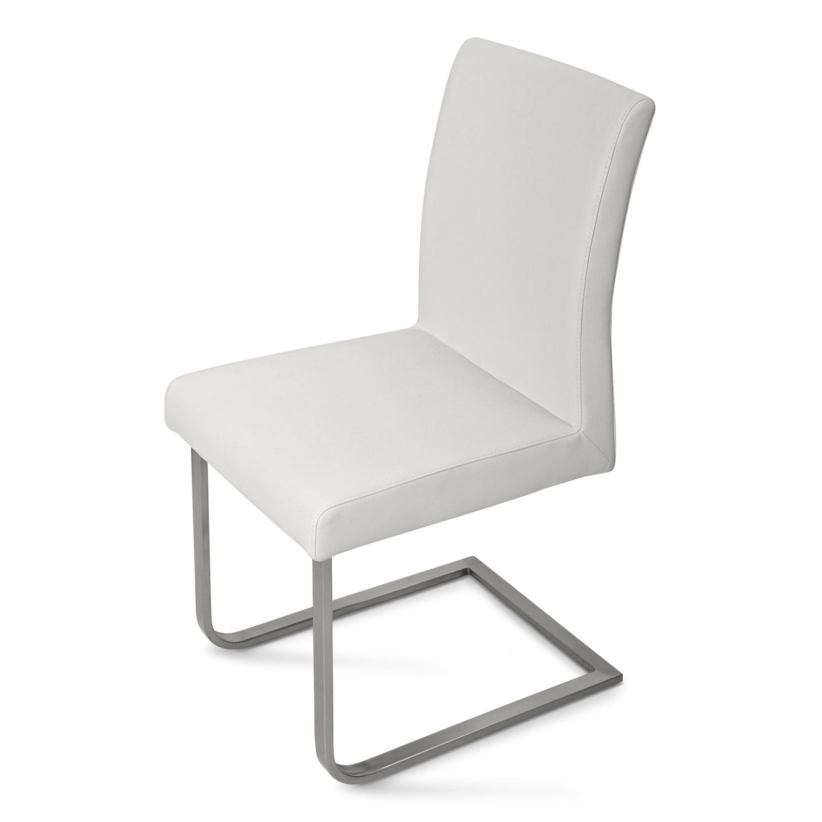 sam freischwinger stuhl wei edelstahl norderoog. Black Bedroom Furniture Sets. Home Design Ideas