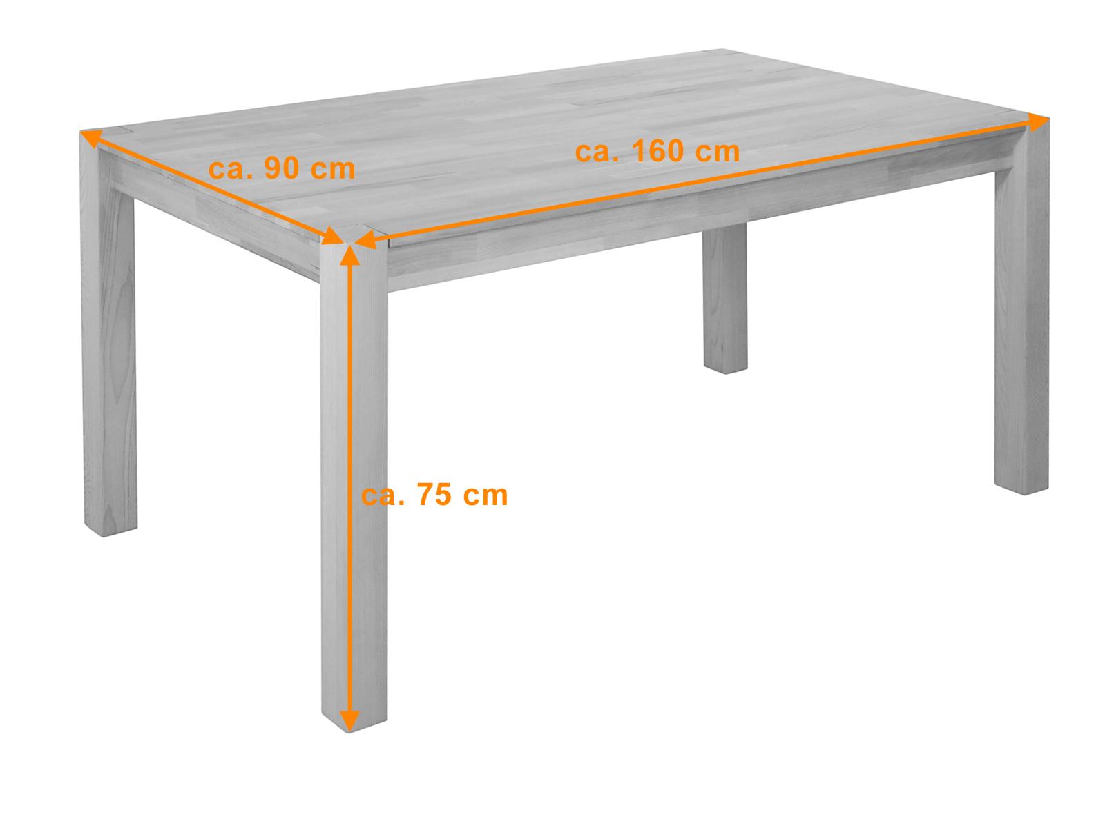 Sam kernbuche ge lt tisch 160 x 90 cm sandro 1060kbg for Kernbuche tisch