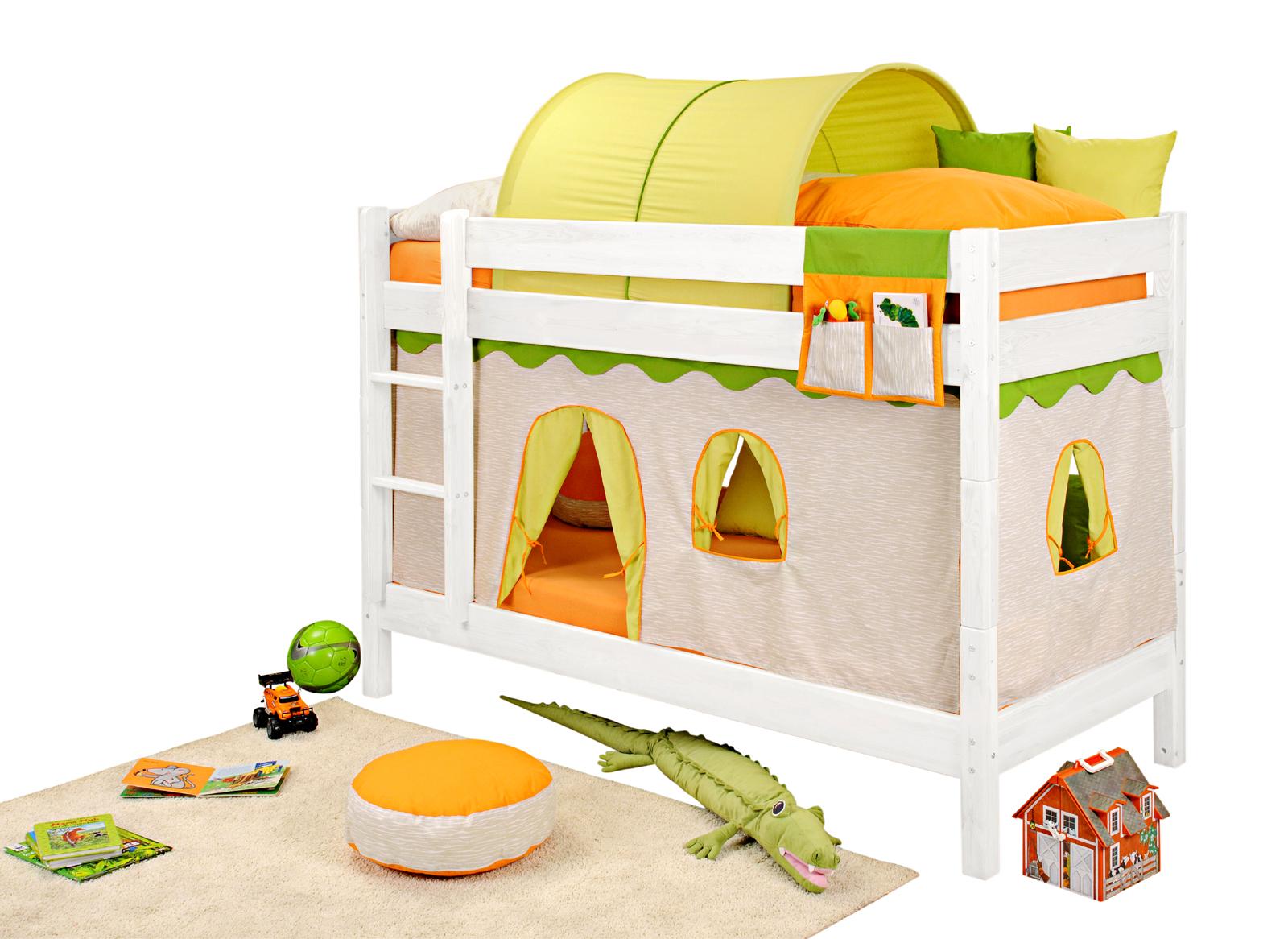 SAM® Kinder Etagenbett Dschungel I weiß gerade Massivholz