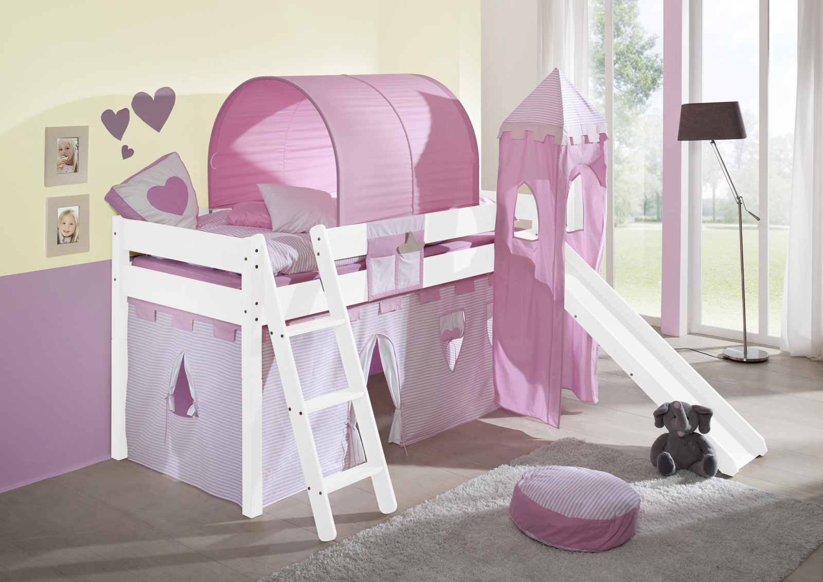 sam kinder spielbett prinzessin ii wei schr g massiv buche. Black Bedroom Furniture Sets. Home Design Ideas