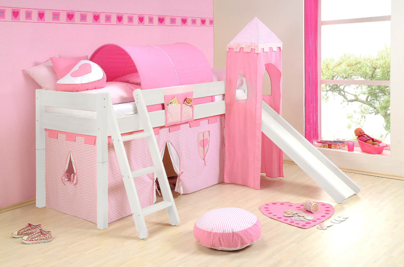 sam kinder spielbett prinzessin ii wei schr g massivholz. Black Bedroom Furniture Sets. Home Design Ideas