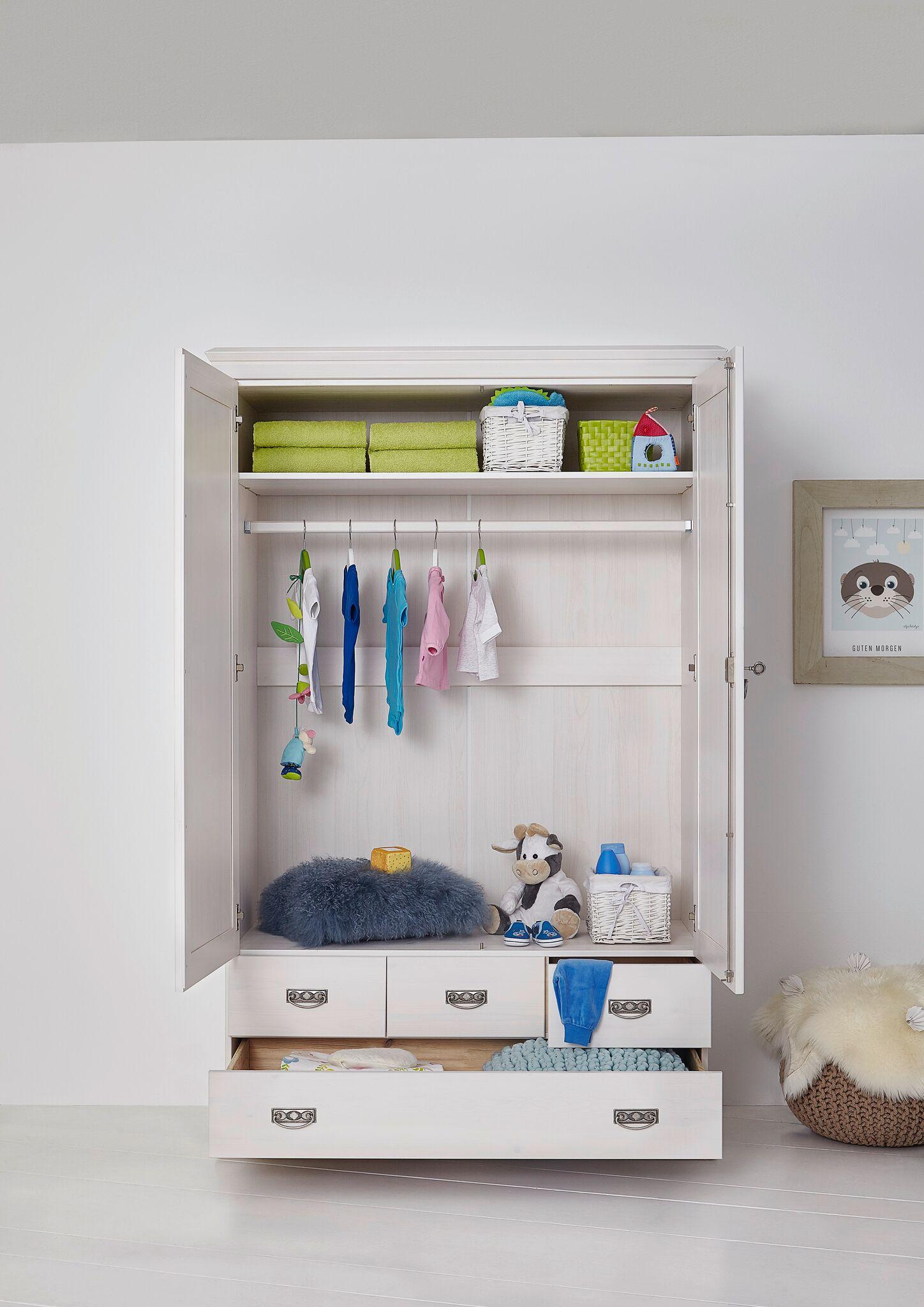 sam kleiderschrank 3 t rig wei kiefernholz odette. Black Bedroom Furniture Sets. Home Design Ideas