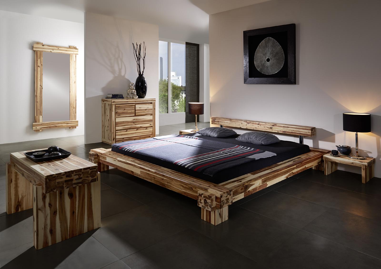 sam massives holzbett akazie 140 x 200 cm casanova. Black Bedroom Furniture Sets. Home Design Ideas