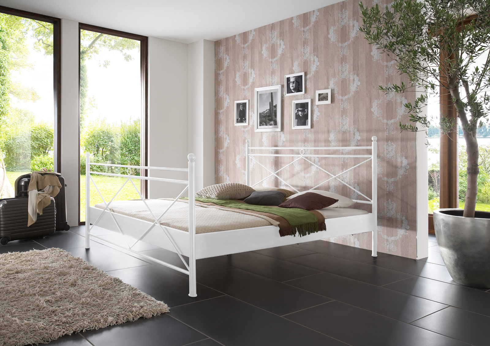 sam metallbett wei 140 x 200 cm imola auf lager. Black Bedroom Furniture Sets. Home Design Ideas