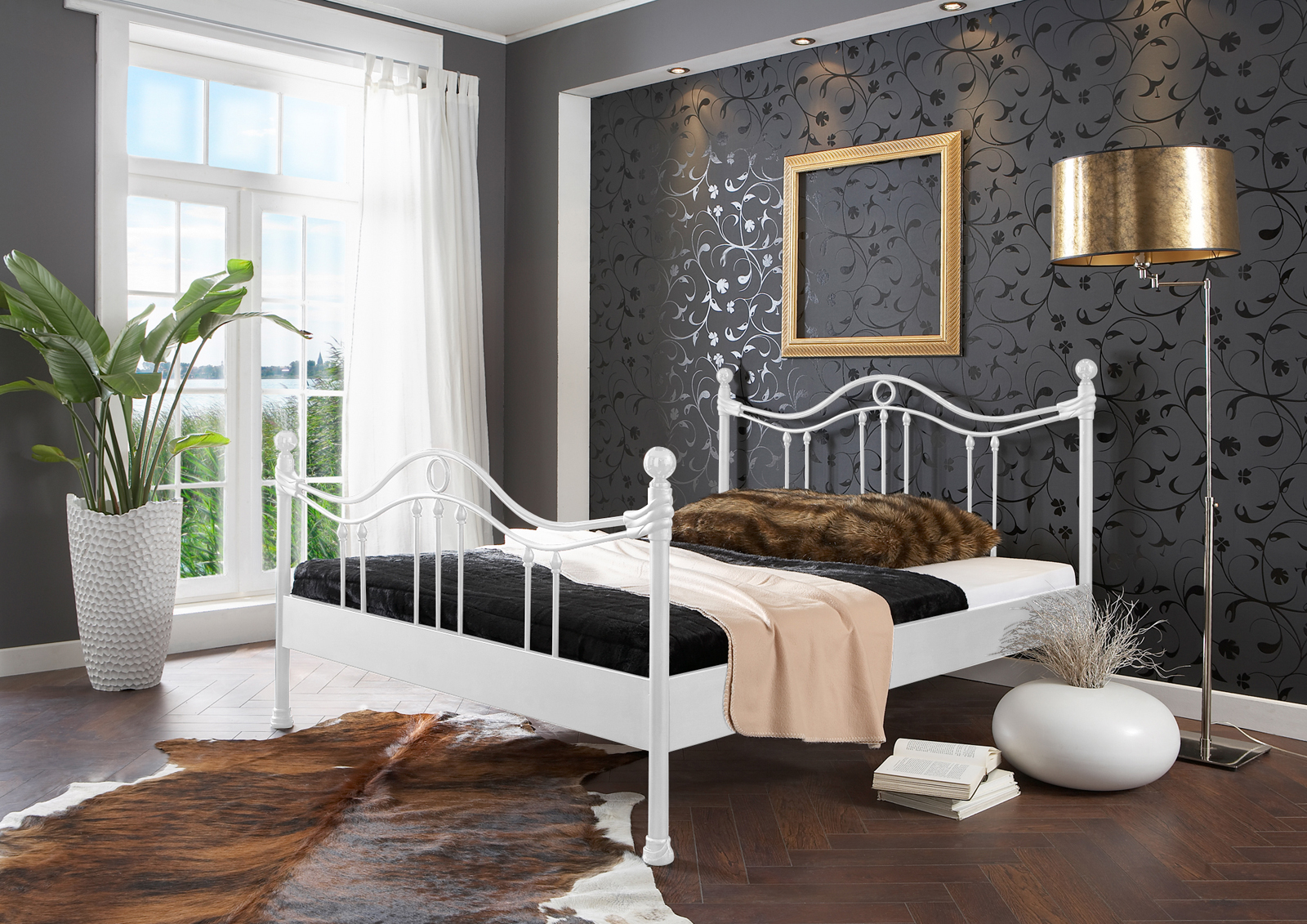 sam metallbett wei 140 x 200 cm kea g nstig. Black Bedroom Furniture Sets. Home Design Ideas