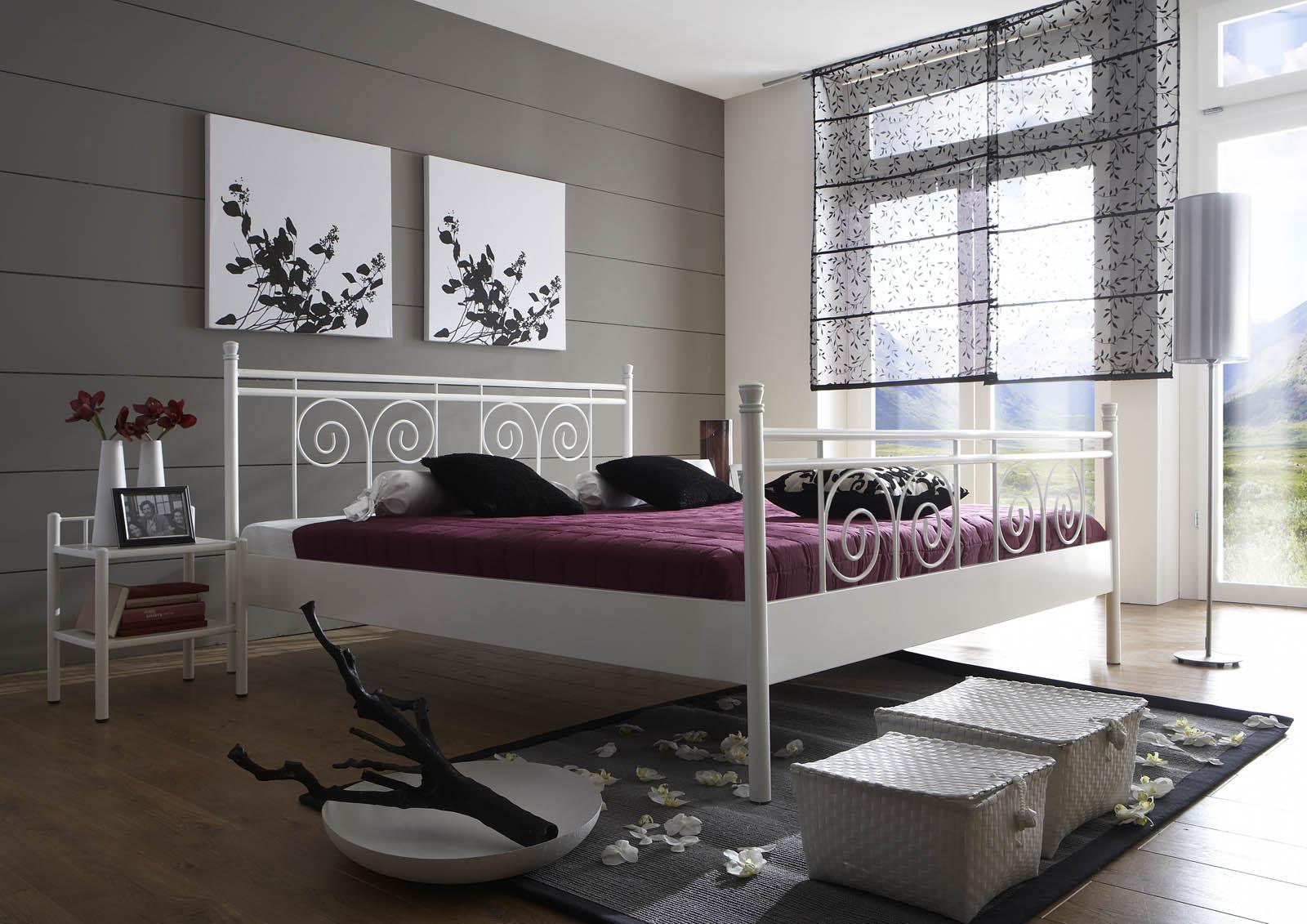 sam metallbett wei 140 x 200 cm rhodos g nstig. Black Bedroom Furniture Sets. Home Design Ideas