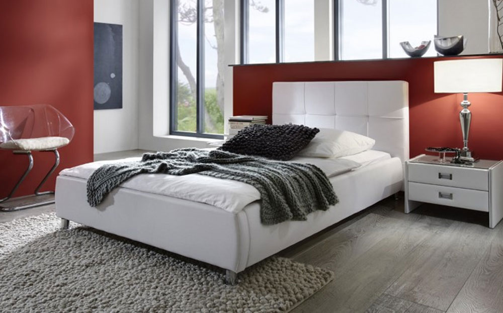 sam polsterbett 100 x 200 cm wei zarah g nstig. Black Bedroom Furniture Sets. Home Design Ideas