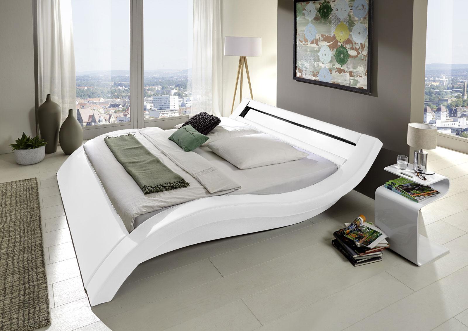 sam polsterbett 160 x 200 cm led beleuchtung wei look. Black Bedroom Furniture Sets. Home Design Ideas