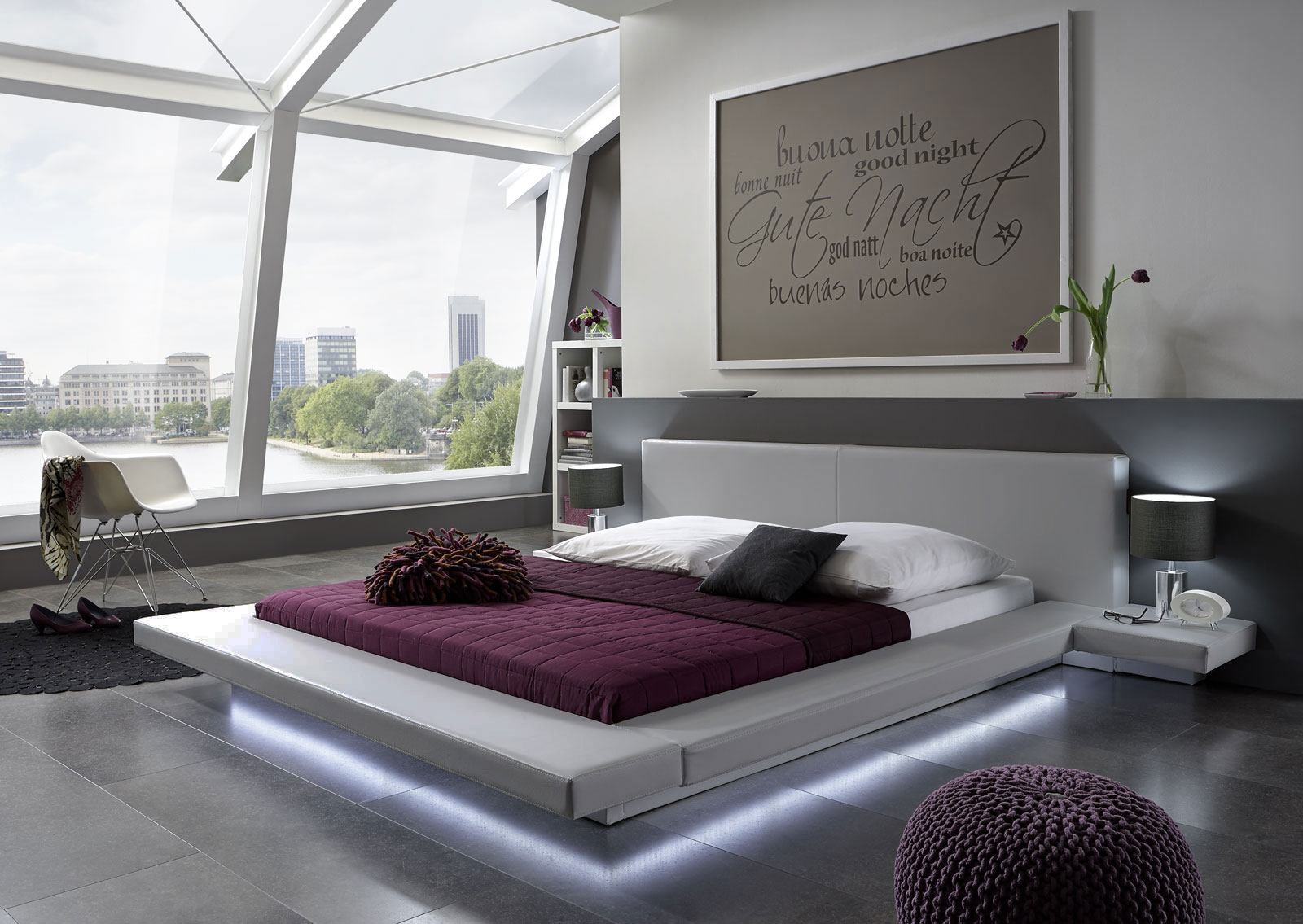 sam polsterbett 180 x 200 cm grau perla led g nstig. Black Bedroom Furniture Sets. Home Design Ideas