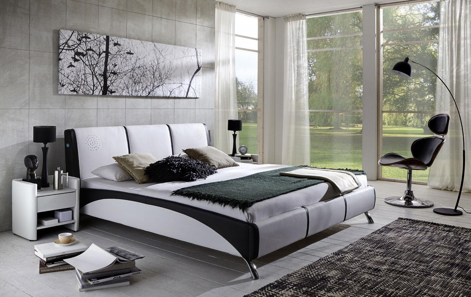 SAM® Polsterbett mit Soundsystem 160 cm weiß schwarz FUN