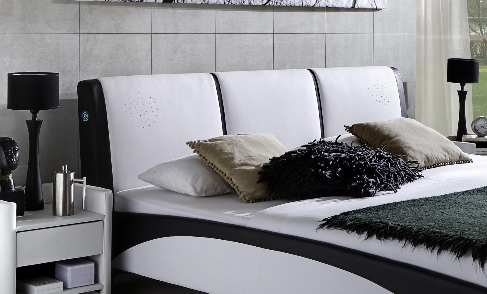 sam polsterbett mit soundsystem 160 cm wei schwarz fun. Black Bedroom Furniture Sets. Home Design Ideas