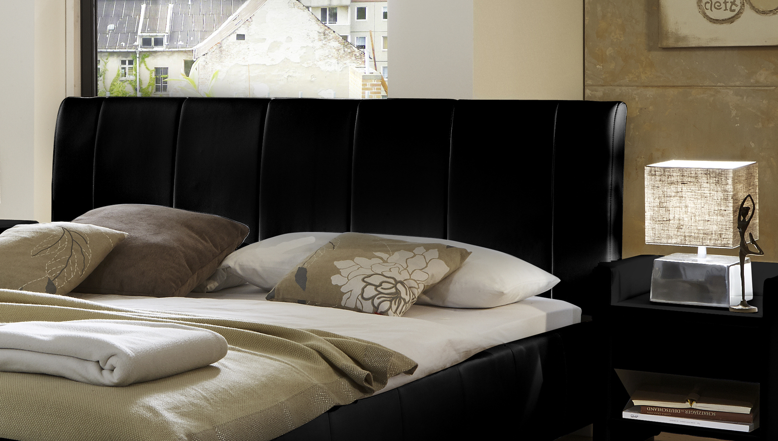 sam polsterbett schwarz 160 x 200 cm lumo g nstig. Black Bedroom Furniture Sets. Home Design Ideas