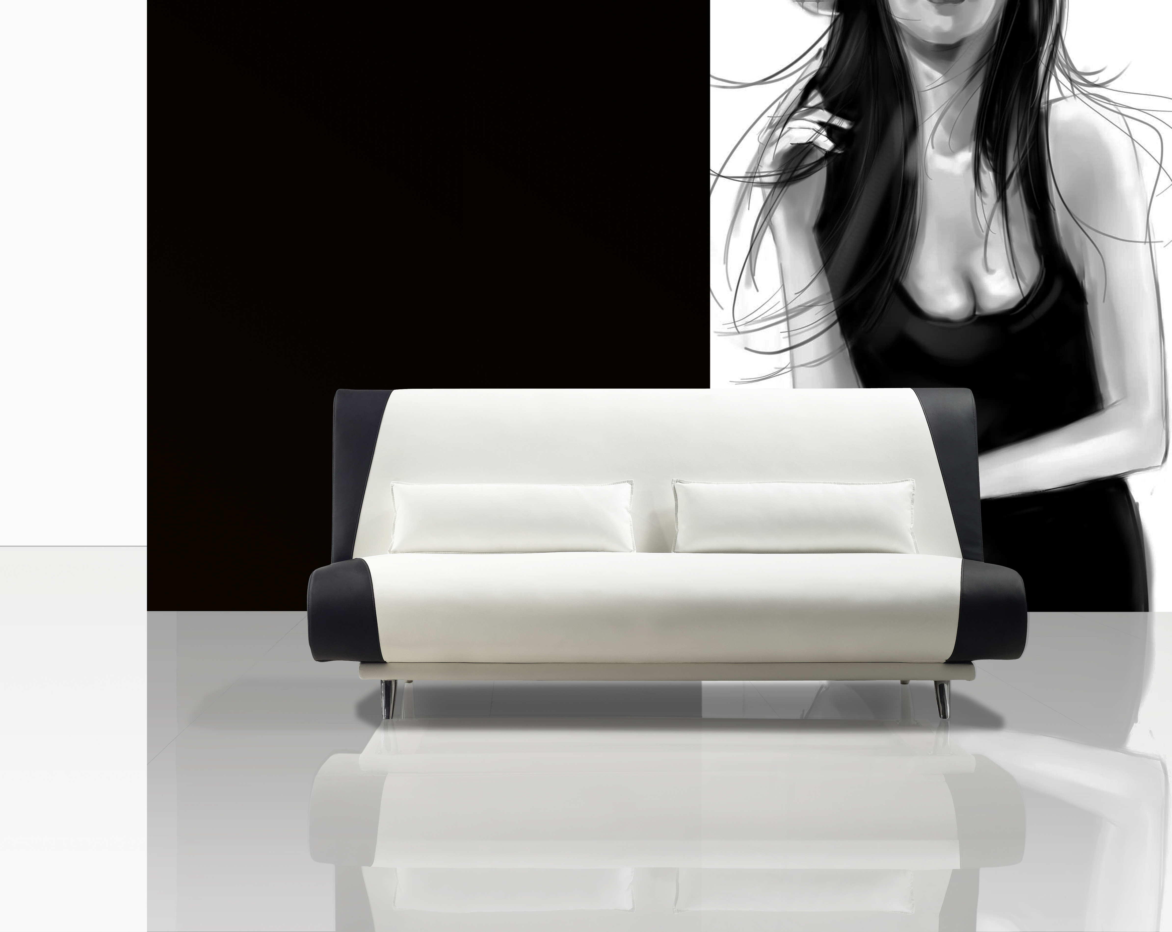sam schlafsofa wei schwarz sofa milano 200 cm. Black Bedroom Furniture Sets. Home Design Ideas