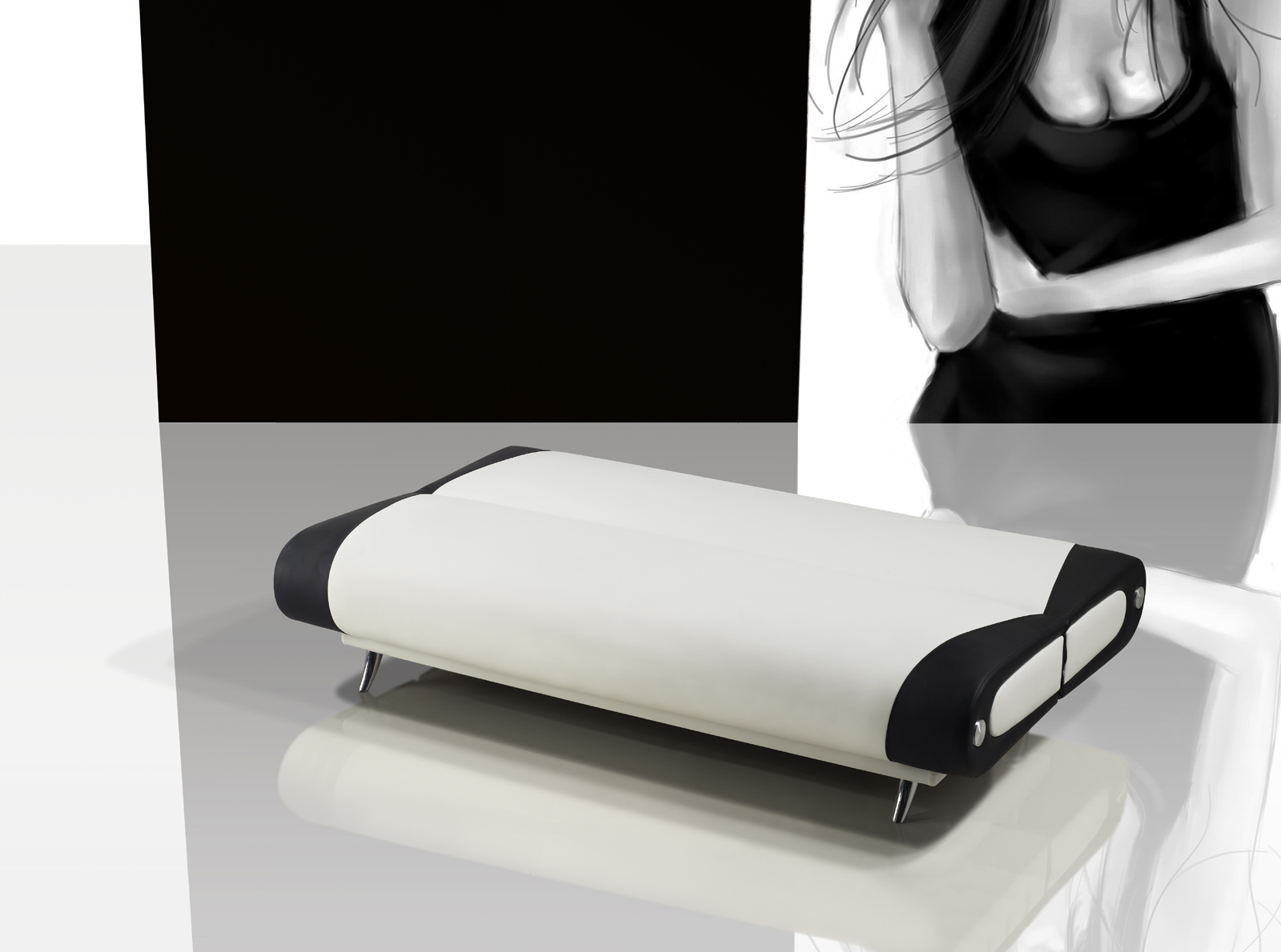 Sam schlafsofa wei schwarz sofa milano 200 cm for Schlafsofa 200 cm