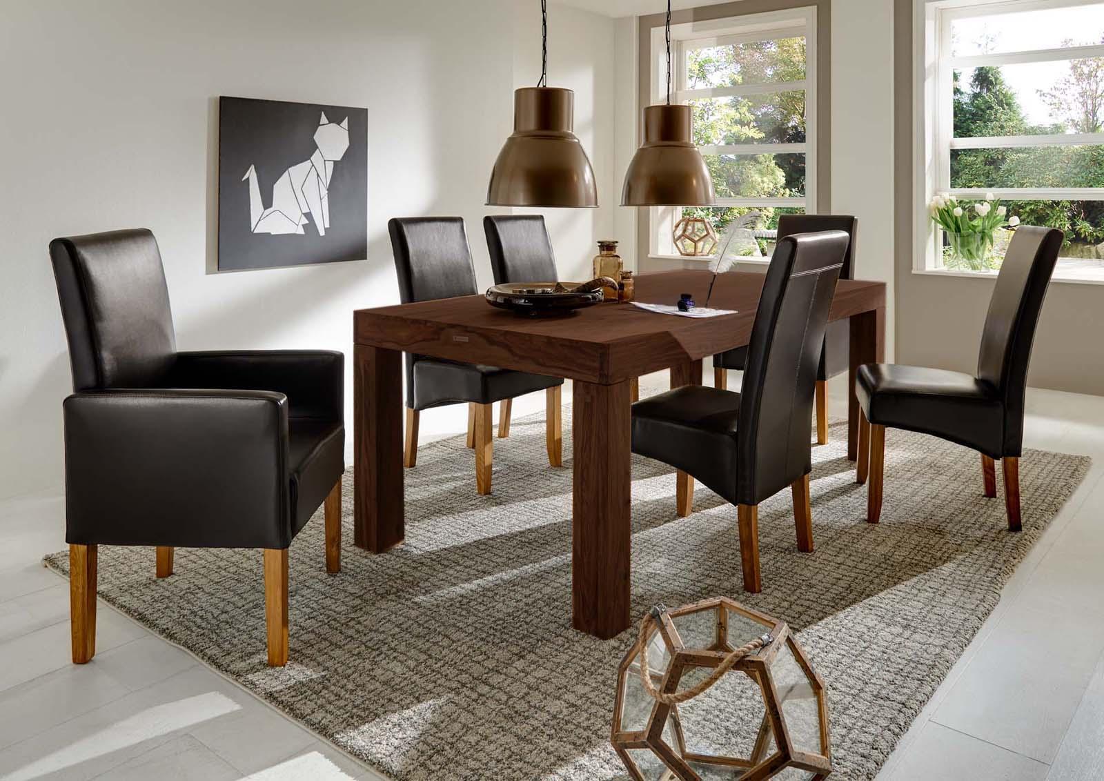 sam sheesham esszimmer tischgruppe 7tlg braun walnuss cubus 180cm. Black Bedroom Furniture Sets. Home Design Ideas