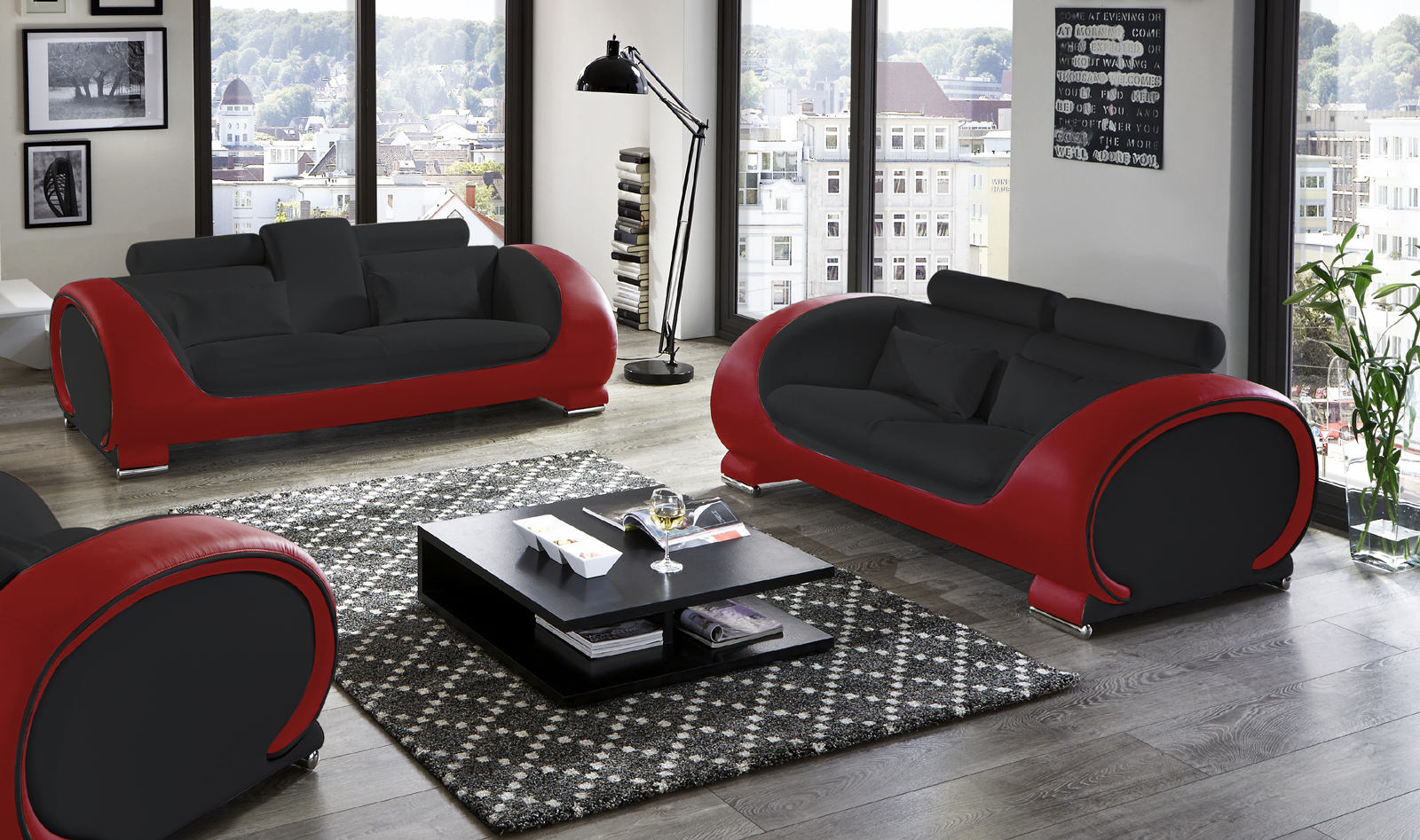 sam sofa garnitur 2tlg in schwarz rot vigo. Black Bedroom Furniture Sets. Home Design Ideas