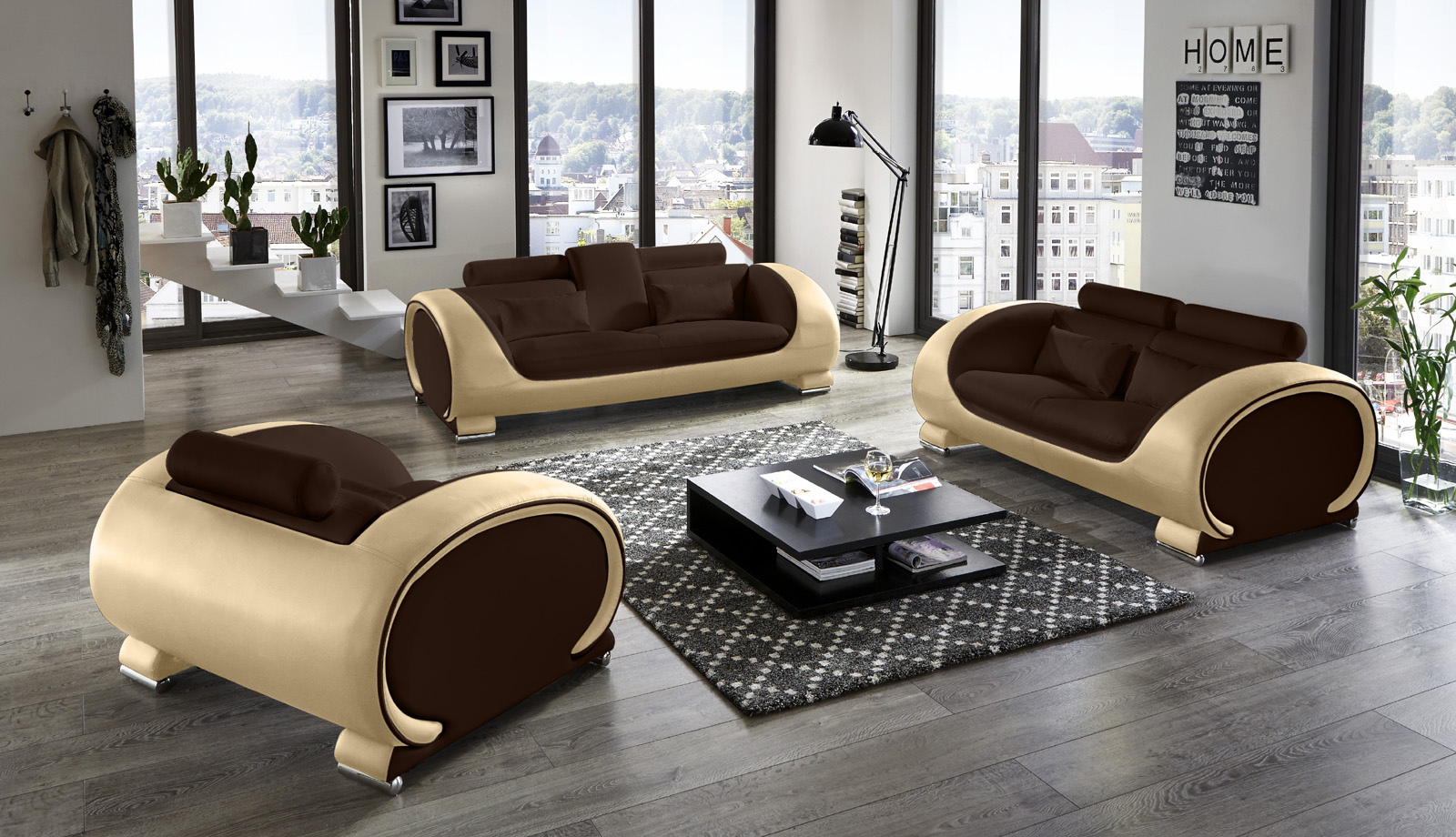 sam sofa garnitur 3tlg in braun creme vigo 3 2 1. Black Bedroom Furniture Sets. Home Design Ideas