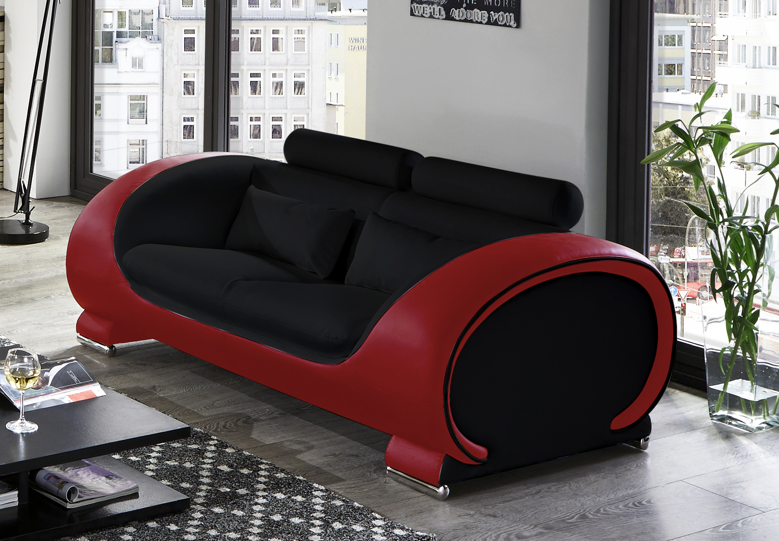 sam sofa garnitur 3tlg in schwarz rot vigo 3 2 1. Black Bedroom Furniture Sets. Home Design Ideas