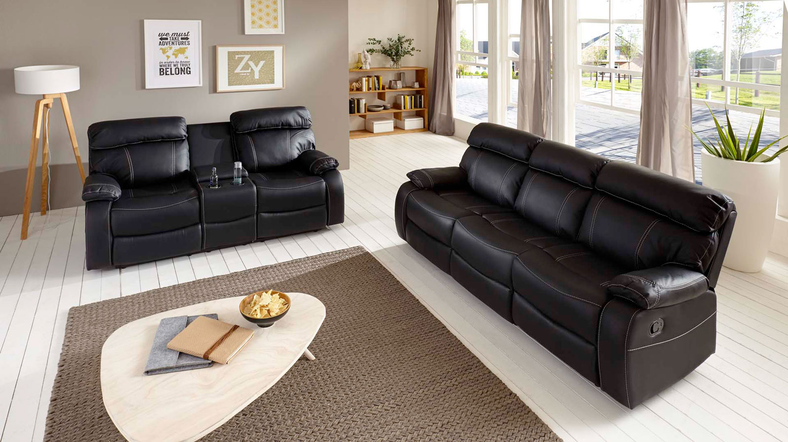 Sam sofa garnitur schwarz 2tlg emanuel g nstig for Sofa garnitur