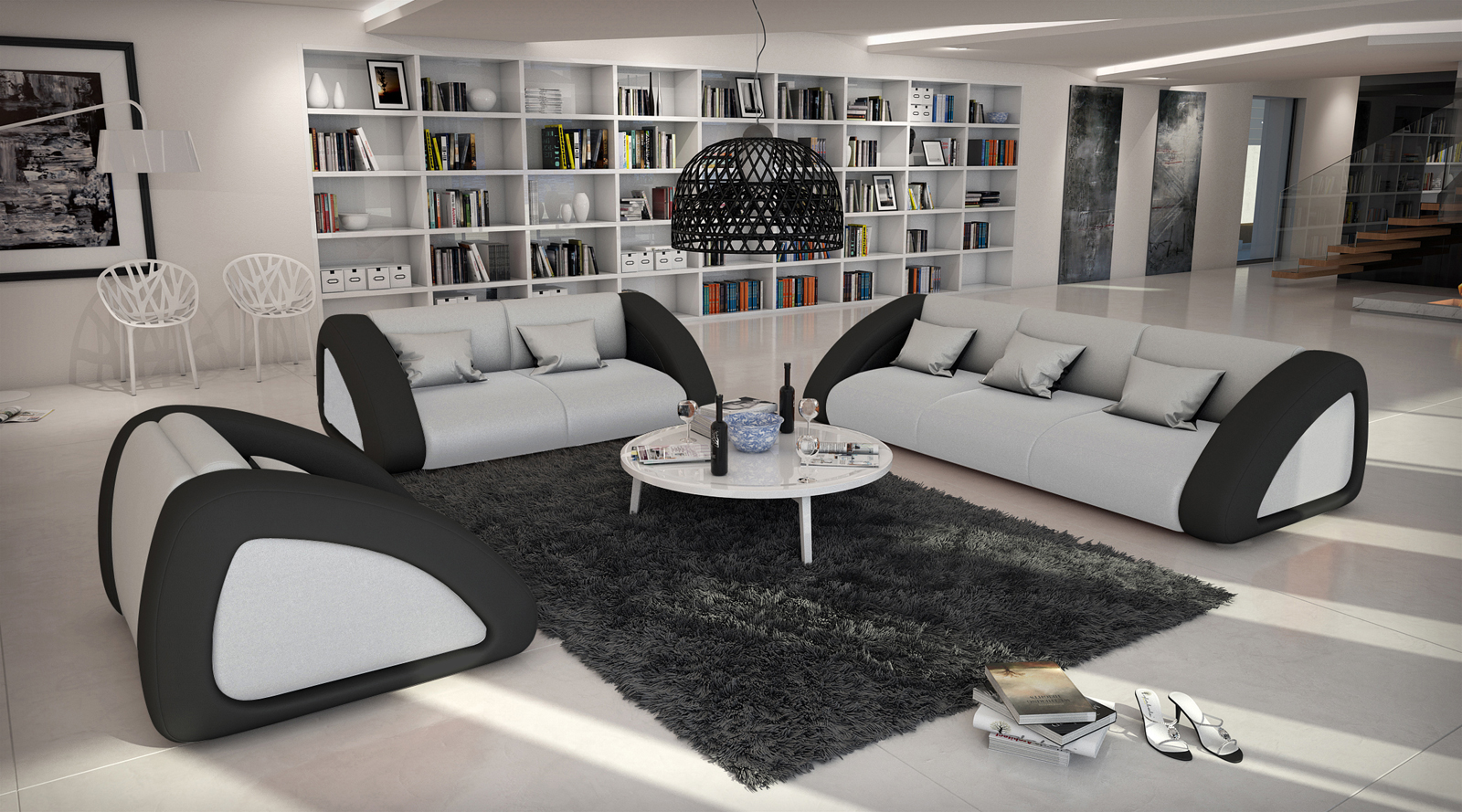 sam sofa garnitur wei wei schwarz ciao combi 3 2 1. Black Bedroom Furniture Sets. Home Design Ideas