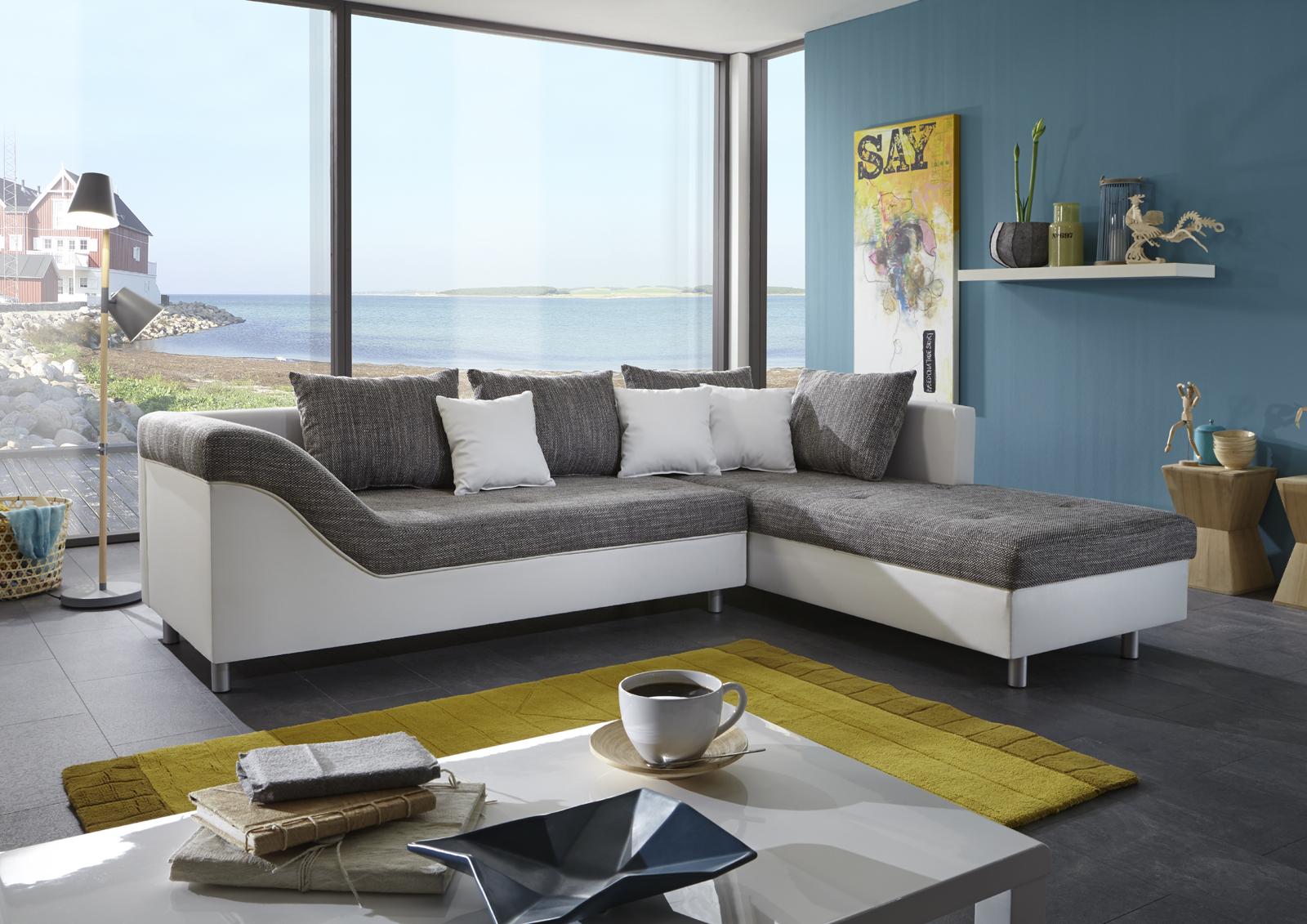 sam sofa grau wei ecksofa phil 261 x 204 cm. Black Bedroom Furniture Sets. Home Design Ideas