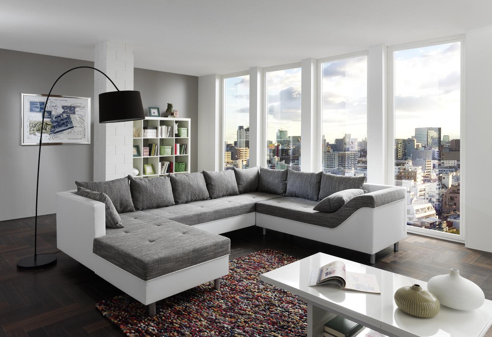 SAM® Sofa grau weiß Wohnlandschaft Phil 183 x 315 x 243 cm