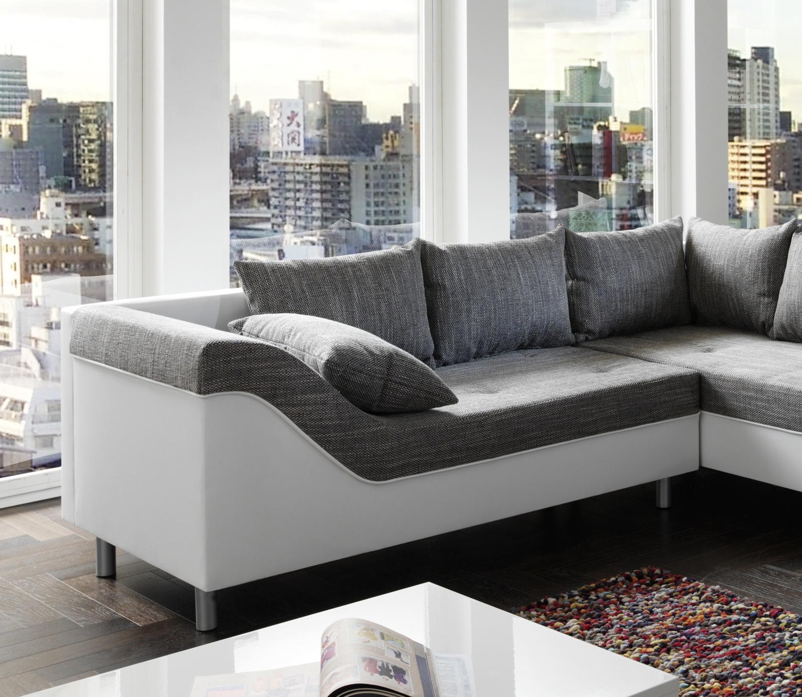 sam sofa grau wei wohnlandschaft phil 243 x 315 x 183 cm. Black Bedroom Furniture Sets. Home Design Ideas