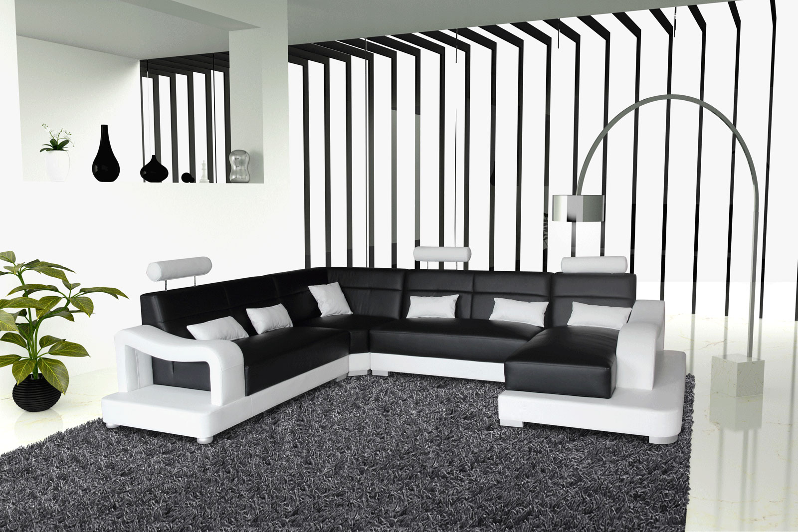 sam sofa schwarz wei wohnlandschaft ariola 243 x 392 x 181 cm. Black Bedroom Furniture Sets. Home Design Ideas