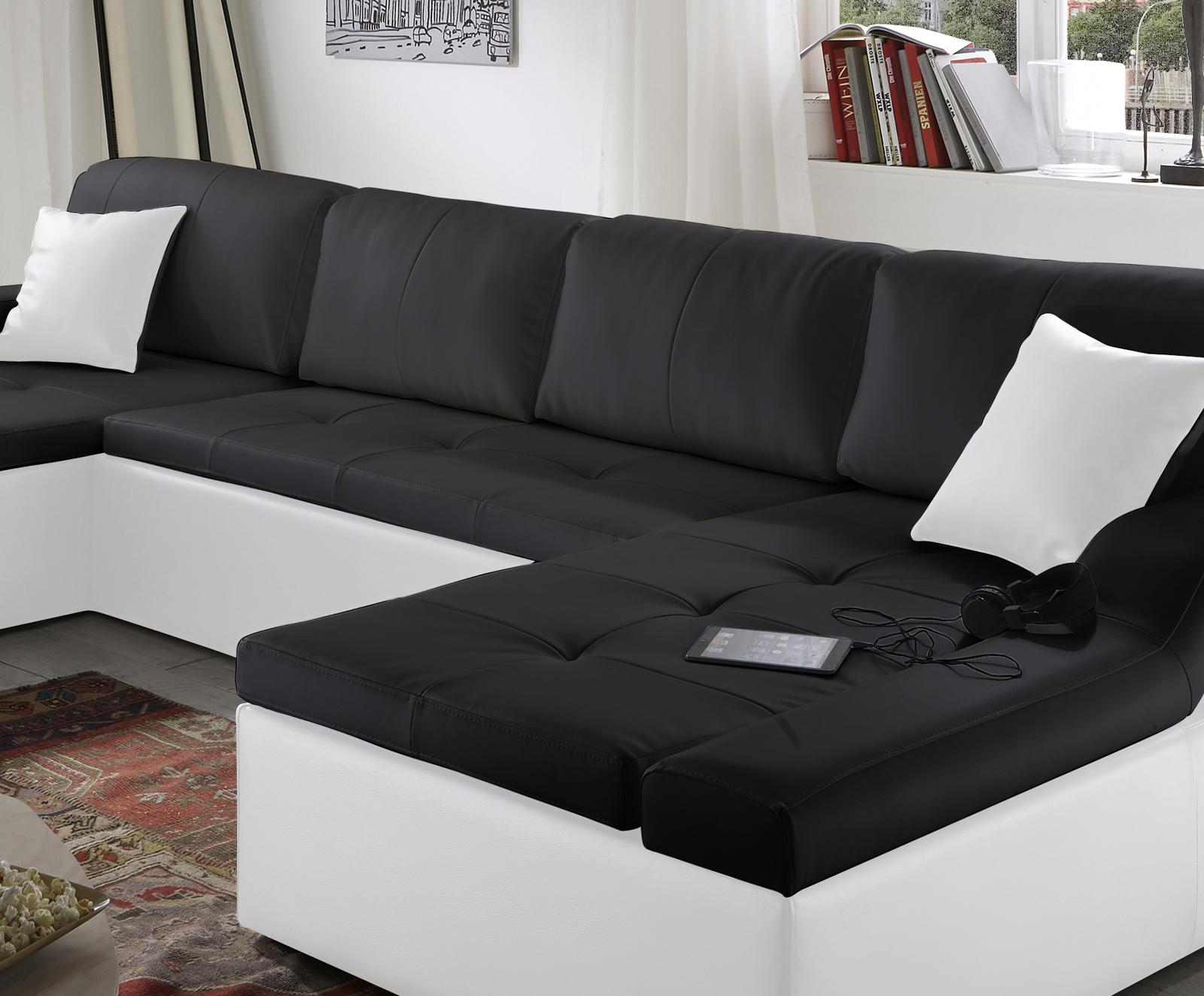 sam sofa schwarz wei wohnlandschaft rosella 230 x 335 x 190 cm. Black Bedroom Furniture Sets. Home Design Ideas
