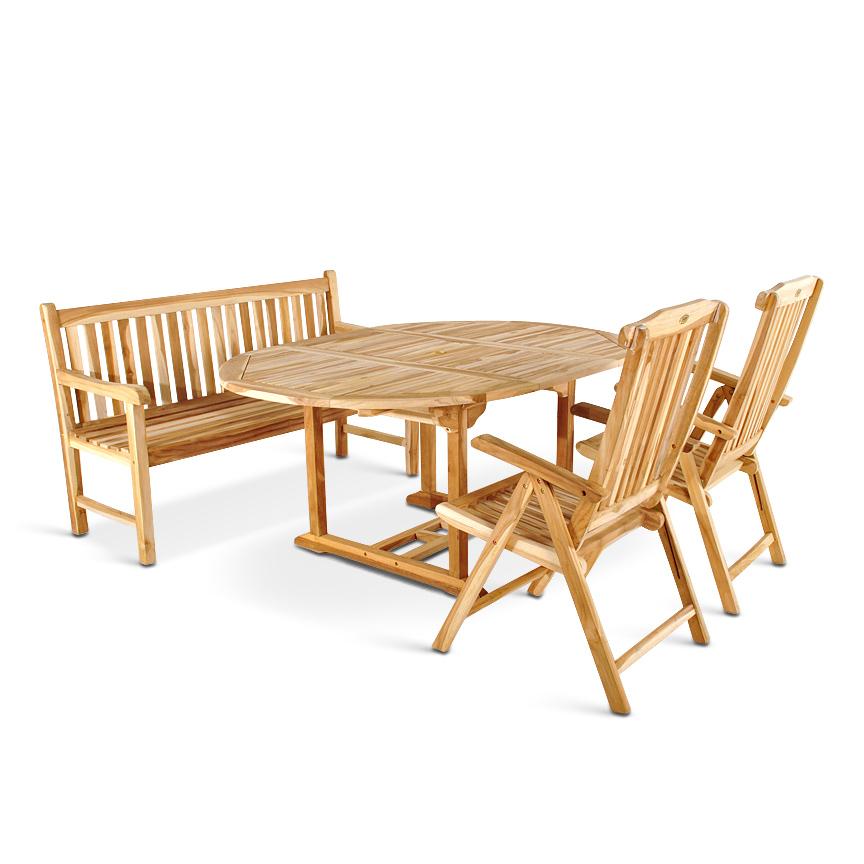 sam teak gartengruppe 4tlg 120 170 cm schirmloch borneo. Black Bedroom Furniture Sets. Home Design Ideas