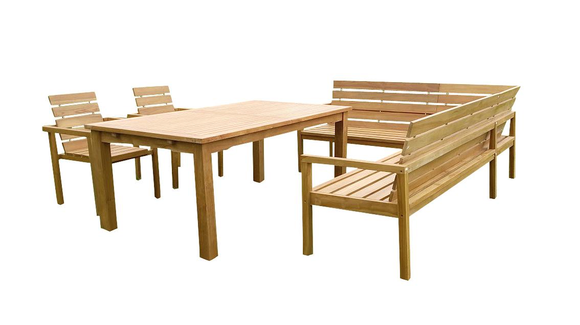 sam teak gartengruppe 4tlg 180 230 cm mit eckbank michel demn chst. Black Bedroom Furniture Sets. Home Design Ideas