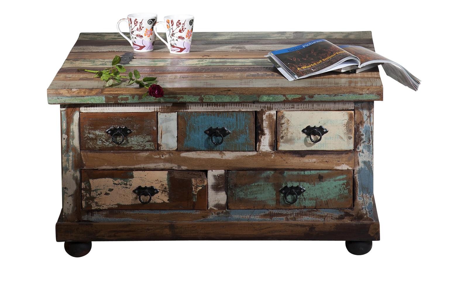 sam truhe couchtisch altholz bunt lackiert 90x90cm. Black Bedroom Furniture Sets. Home Design Ideas