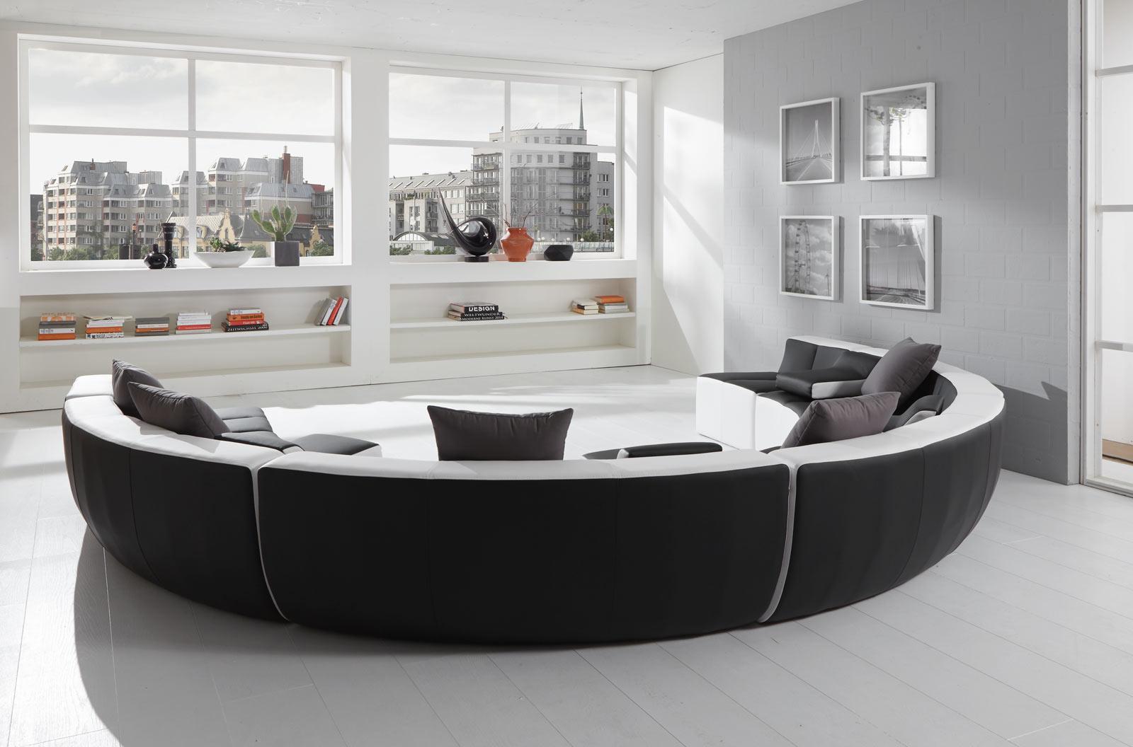 sam wohnlandschaft schwarz wei tiara rund 265 x 400 x 265 cm. Black Bedroom Furniture Sets. Home Design Ideas