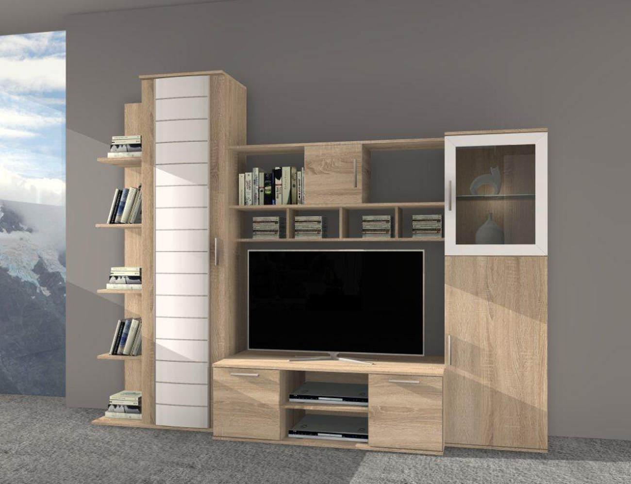Wohnzimmer creme rot for Wohnwand 250 cm