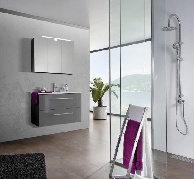 sam 2tlg badezimmer set spiegelschrank grau 90 cm verena. Black Bedroom Furniture Sets. Home Design Ideas