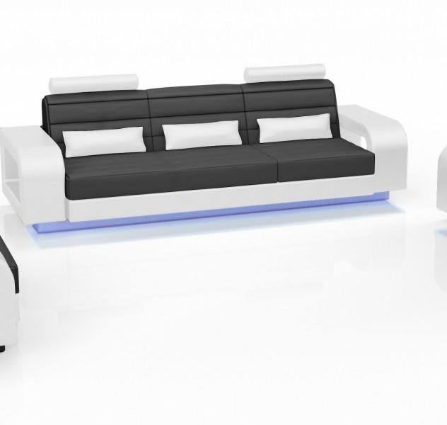 Sam 2tlg sofa garnitur 2 3 sitzer in schwarz wei new york for Sofa york 3 sitzer